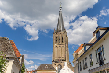Fototapete - Tower of the Martini church in the historic center of Doesburg, Netherlands