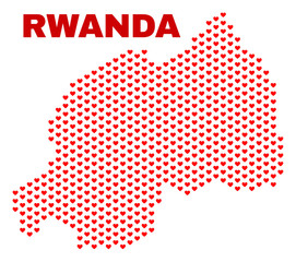 Mosaic Rwanda map of valentine hearts in red color isolated on a white background. Regular red heart pattern in shape of Rwanda map. Abstract design for Valentine decoration.