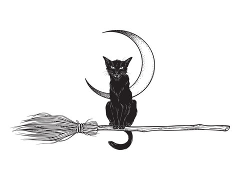 Black cat rides the broom magic vehicle of the witch hand drawn ink style boho chic sticker, patch, flash tattoo or print design vector illustration.