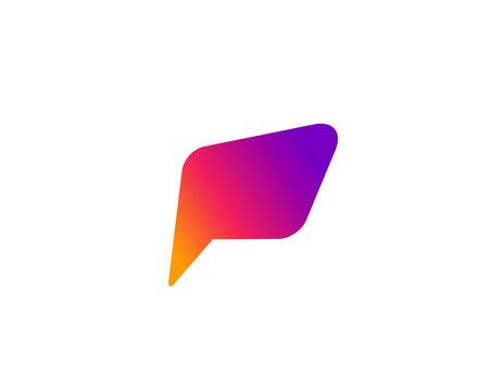 Letter P speech bubble logo icon design template elements