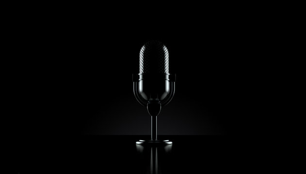 Radio microphone on black background