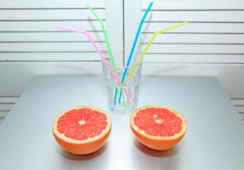 Zwei Apfelsinen hälften