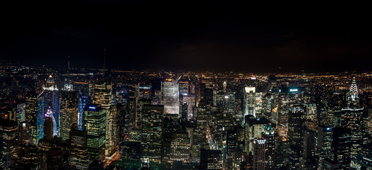 Amazing NYC panoramic night aerial view. Manhattan district. USA