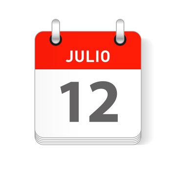 Julio 12, July 12 Calendar Date Design