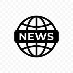 News world globe vector icon. Web newsletter and app linear symbol