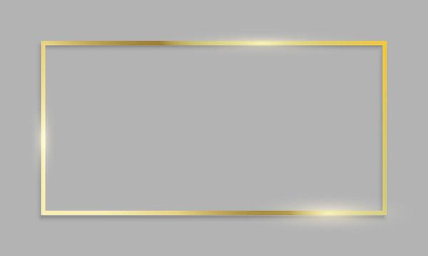 Golden frame shiny border on transparent background. Vector realistic gold texture frame