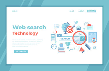 Web search technology, Search engine, SEO, Data finding. Search bar with result elements. landing page template or web banner, infographics.