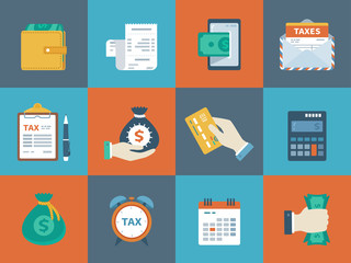 Business finance colorful collection of icons. Banking, tax, money, counting, payment. Conceptual promo and advertising icons set for website and mobile site and apps. Vector illustration.