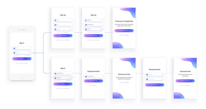 Mobile UI kit. Sign up form, sign in page. Set.