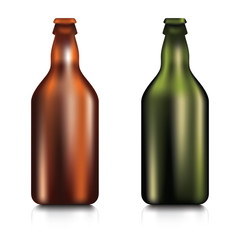 Set of realistic green and brown blank glass beer bottle on a white background.