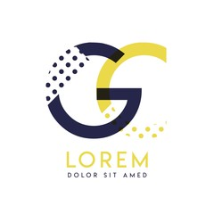 GC simple logo design with yellow and purple color that can be used for creative business and advertising. CG logo is filled with bubbles and dots, can be used for all areas of the company.