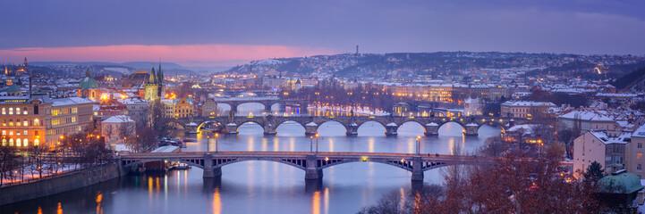 Fototapete - Panorama of Prague in Winter