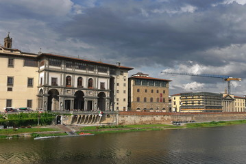 View of the Uffizi gallery from the Arno river; Florence, Italy
