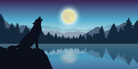 wolf howls at full moon by the lake nature landscape vector illustration EPS10