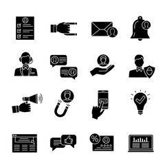 Customer retention and loyalty glyph icons set