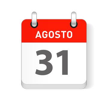 Agosto 31, August 31 Calendar Date Design