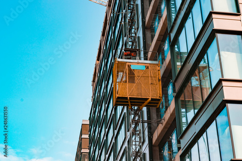 An Elevator Lift On A Building Under Construction Stock Photo And