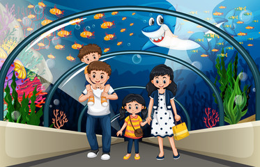 A family at sea aquarium