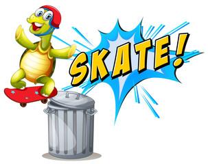 A turtle playing skatebiard