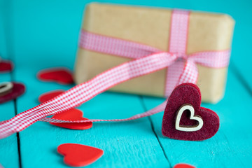 Valentines Day Background , Hearts anf Gift ,Love Concept
