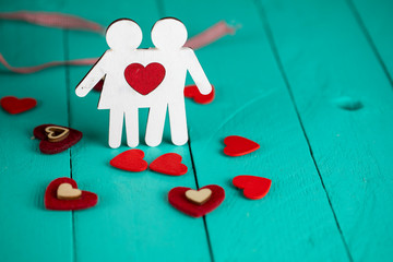 Valentines Day Concept , Hearts anf Man and Woman ,Love Concept