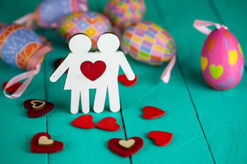 Happy Easter and Valentine Day Concept