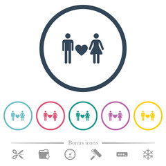 Dating flat color icons in round outlines