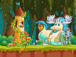 Beautiful princess in forest castle scene