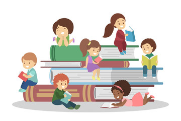 Little children sitting on a book stack and reading