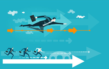 Successful businessmen flying fast to get the deal. Business concept illustration