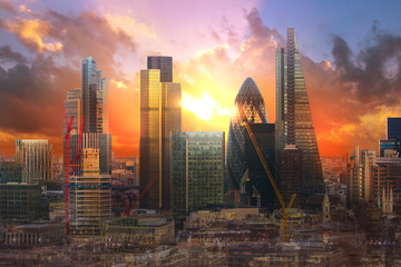 City of London at sunset. UK