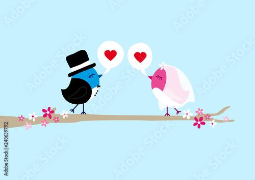 Vögel Hochzeit Auf Baum Sprechblasen Herzen Himmel Stock Image And