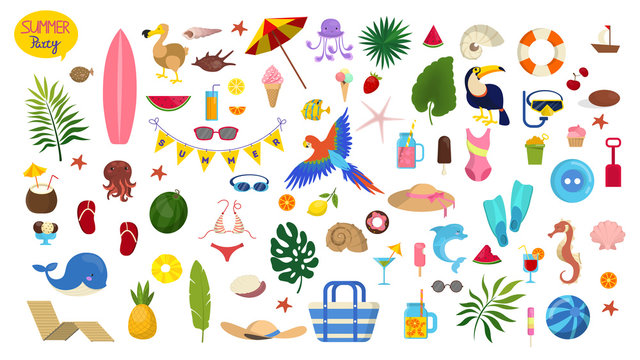 Summer vacation set. Collection of holiday symbol