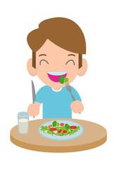 Cute cartoon happy boy eating salad. Healthy vegetable food and children vector illustration.