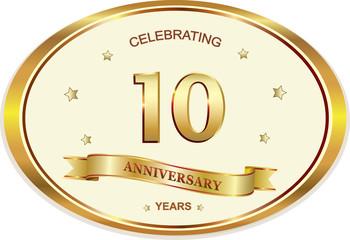 10 years anniversary birthday celebration vector icon, logo golden design