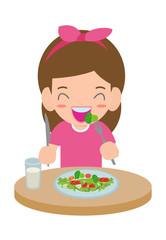 Cute cartoon happy girl eating salad. Healthy vegetable food and children vector illustration.