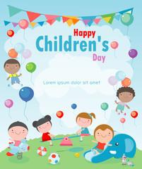 Happy children's day background, vector illustration