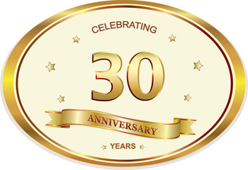 30 years anniversary birthday celebration vector icon, logo golden design