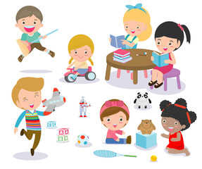 Group of happy school kids in classroom,children's activity in the kindergarten, reading books, playing, education,Vector Illustration