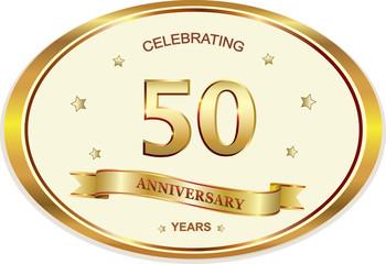 50 years anniversary birthday celebration vector icon, logo golden design