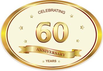 60 years anniversary birthday celebration vector icon, logo golden design.Vector illustration
