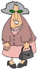 Old woman dressed in shoes of pink