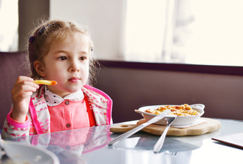 little girl  in cafe