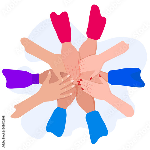 People putting their hands together  Friends with stack of hands