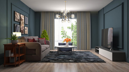 Interior of the living room. 3D illustration Wall mural