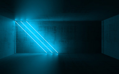 Diagonal cyan neon lights, 3d render