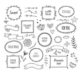 Scrapbook sketch elements. Doodle square borders decorative banner hand drawn photo frame fashion ribbons vintage cartoon vector set. Illustration of photo frame doodle, scribble scrapbook
