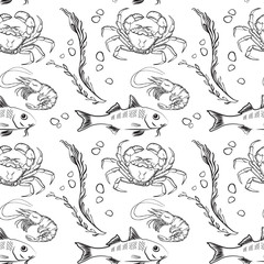Vector seamless pattern of outline fish, crab and shrimp.