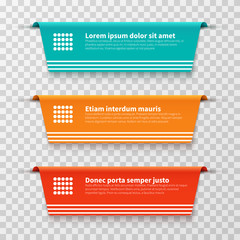 Infographic banners, vector color labels isolated on transparent background. Illustration of label banner and paper tag