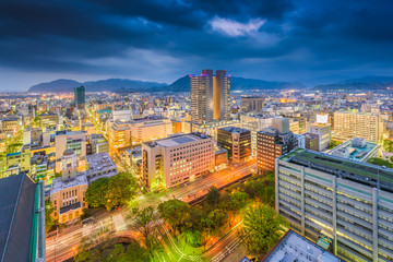 Shizuoka City, Japan downtown skyline at dusk.